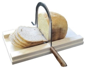 Bread Slicer Elite, Brushed Stainless Steel Guide and Maple Wood Bread Board